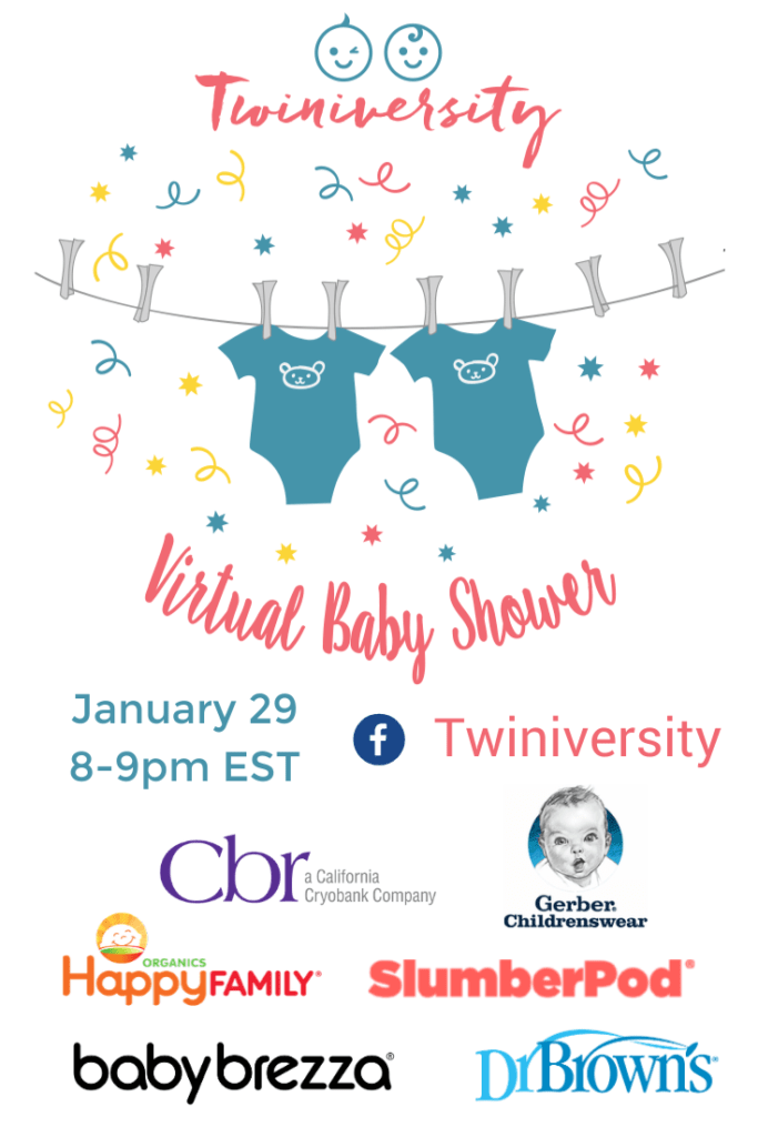 You're invited to our Virtual Baby Shower! Join us for an hour of education, chit-chat, fun, and PRIZES! No pants required, it's all online! #twinmomlife #multiplemumsupport #newborntwins #twinsmom #twinparents #twindad #Twiniversity #twinmomlife #twinslife #twinparents #lifewithtwins