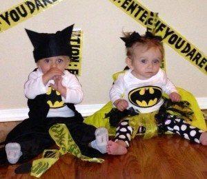 Batman and Batgirl twin Halloween costumes
