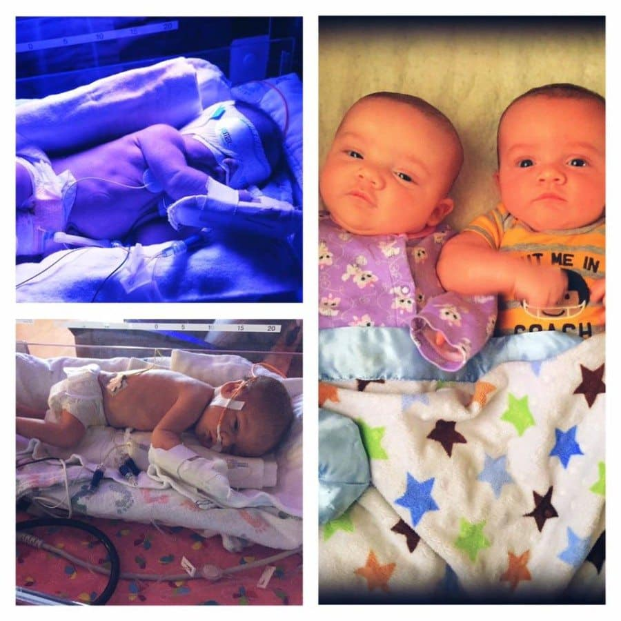 Born 33+6, weighing 4 and 5 lbs. 3 weeks in the NICU. Now 2.5 months old weighing 10 and 12 lbs.