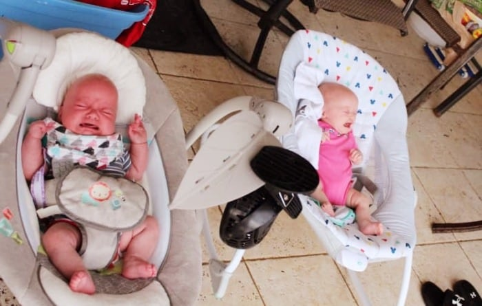 baby twins in bouncers pros and cons of twins