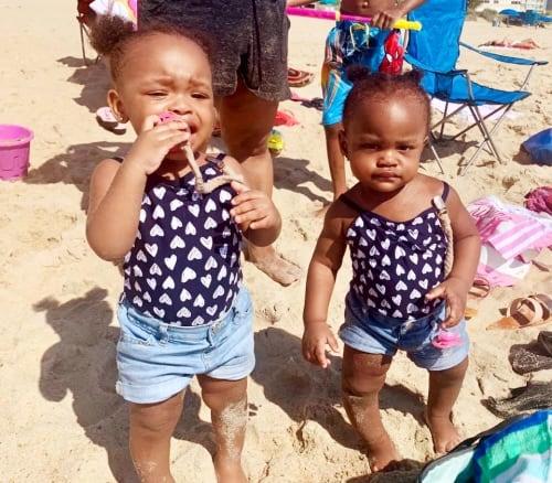 toddler twin girls at beach get easier