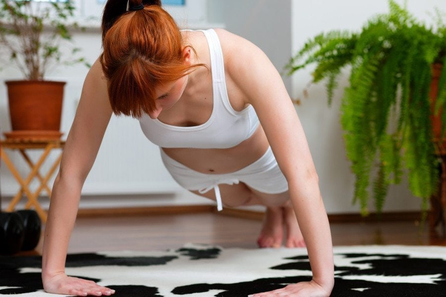 body image get more sleep woman doing pushups