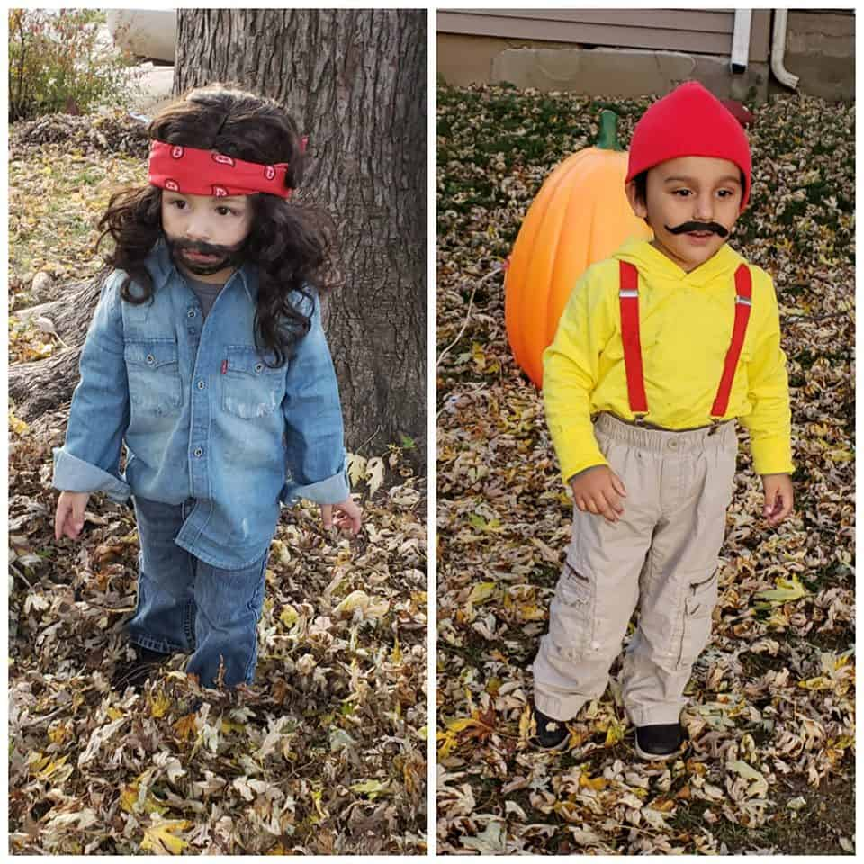 twin toddler boys dressed up as cheech and chong