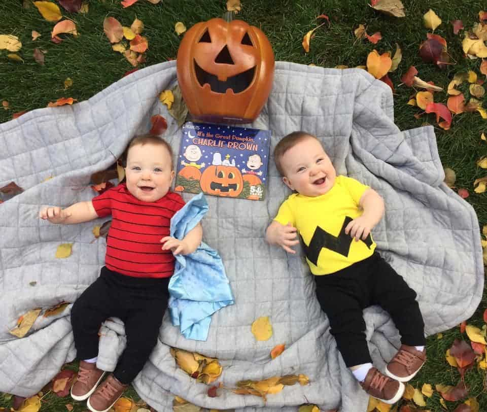 twin baby boys dressed. ascharlie brown and linus