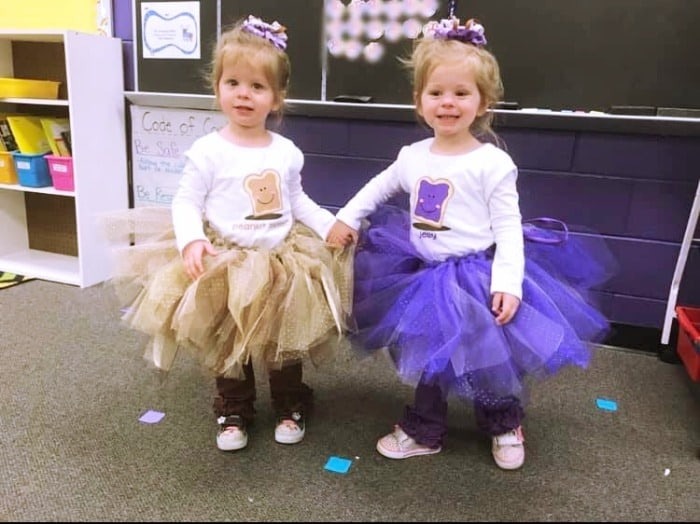 twin toddler girls dressed as peanut butter and jelly