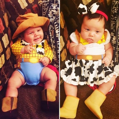 baby twins dressed as Woody and Jessie from Toy Story 2