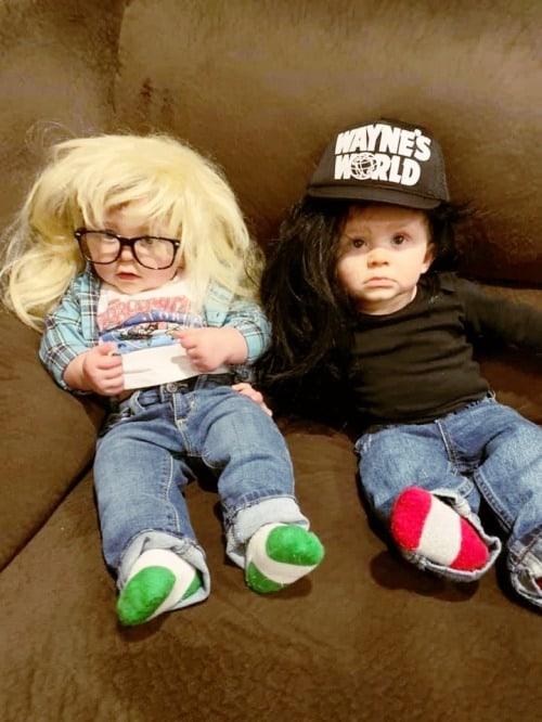 twin babies dressed as wayne and garth from the movie wayne's world