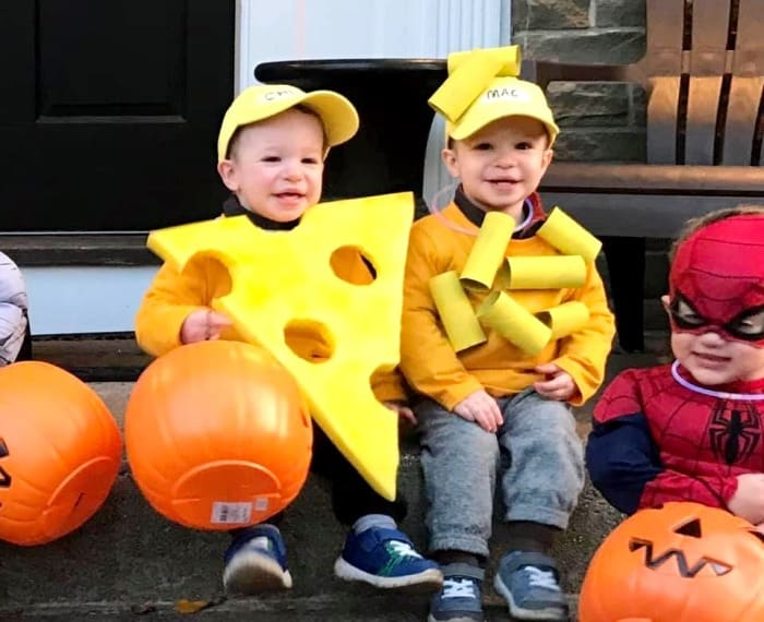 twin toddlers dressed as macaroni and cheese