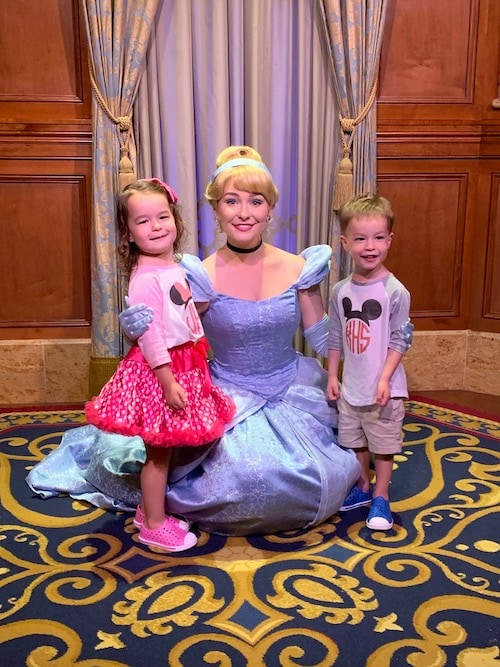 twin 3 year olds with cinderella at disney world alone