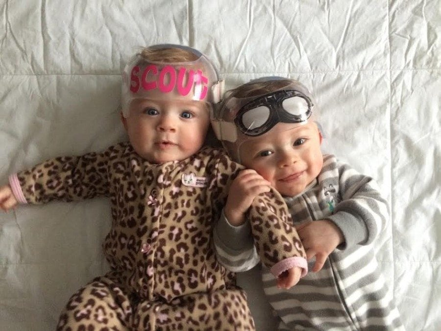 twin dad confession infant twins in helmets