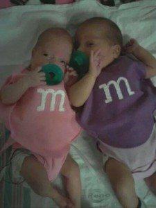 Our NICU nurse made this costume for our newborns - M&Ms!