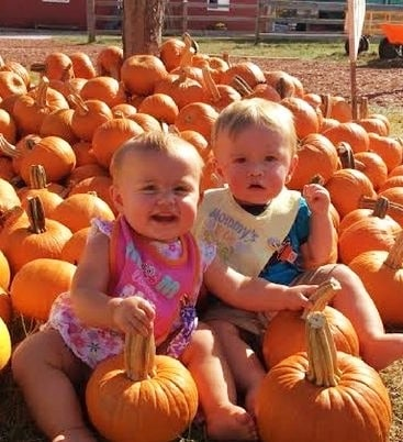 infant twins on pumpkin patch Abusive Marriage