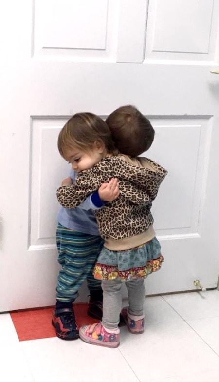 twin toddlers hugging Didn't Have Twins