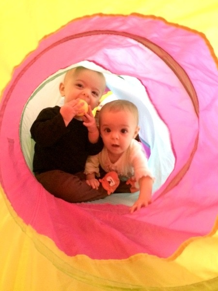 toddler twins in a play tent Didn't Have Twins