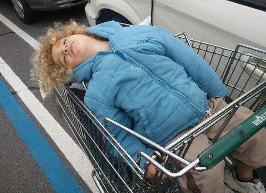 twins nap schedule toddler asleep in shopping cart