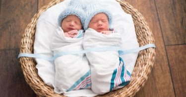 newborn twins swaddled in a basket