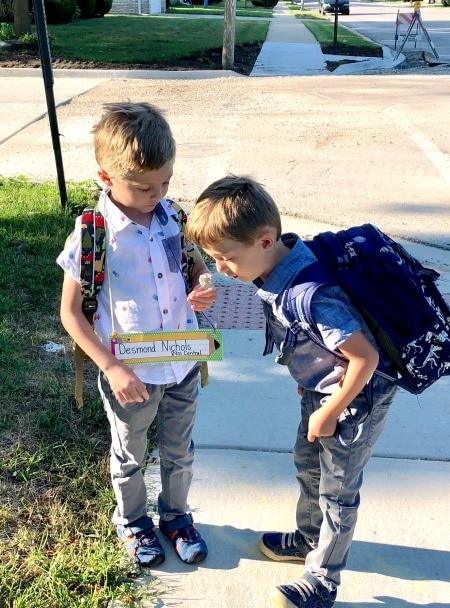 twin boys with backpacks separate my twins in school