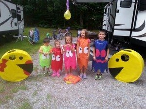 Mom and Dad as Pac-man and Mrs. Pac-man and the kids as ghosts