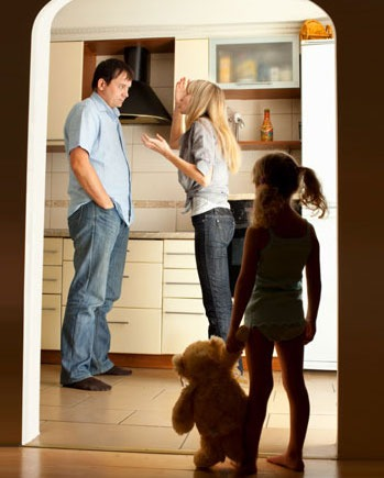 parents fighting with child watching partner in parenting