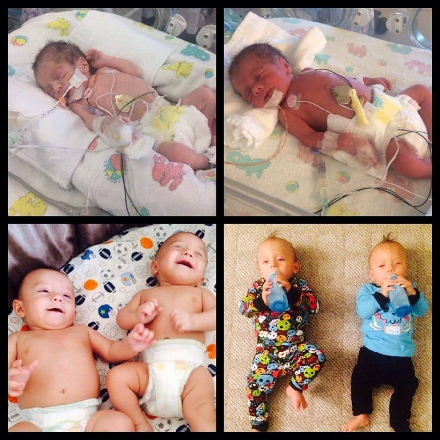 My Twinsies were born at 33 weekend and 3 days. Baby A weighed 3 lbs 7oz and Baby B was 3lbs 14 oz. Both spent 2 weeks in the NICU. Today they are happy and healthy 10 month olds. preemie twins