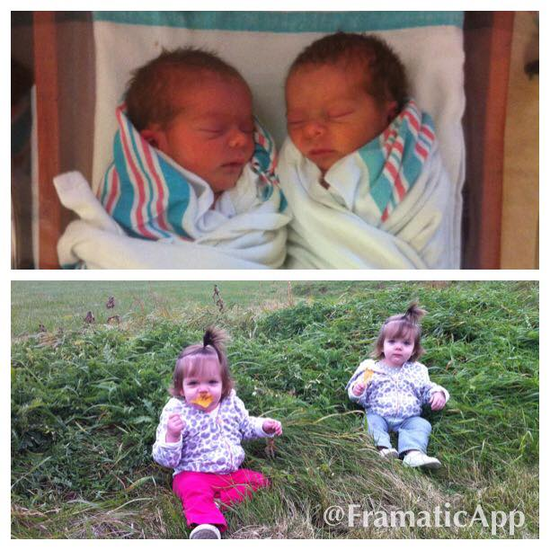 Born at 34&6... At 4.8 pounds and 4.12 pounds. Baby A spent 11 days in NICU, and Baby B spent 10 days... Very healthy and happy! preemie twins