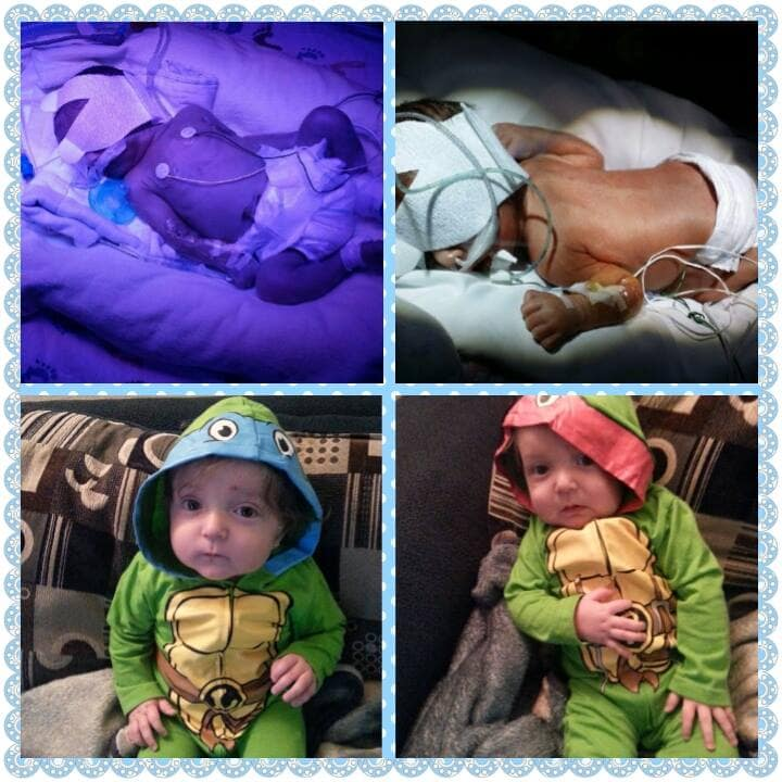 John 3lbs 14oz, Joshua 3lbs 14.4 oz. Born 12/11 at 30wks and spent a month and a half in the NICU. Now they are both 11 months old and weigh 22 lbs each!