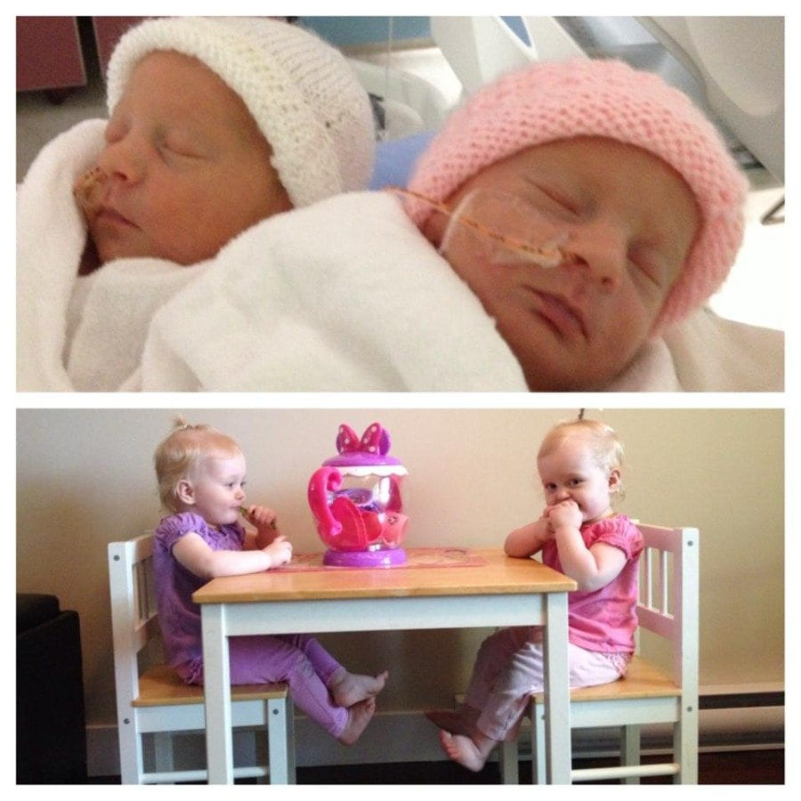 My identical girls were born at 30 weeks 3 days. They spent one month and one day in the NICU. They were 3 lbs 13oz and 3 lbs 9 ozs. They are now 18 months and 24 pounds and doing great!!