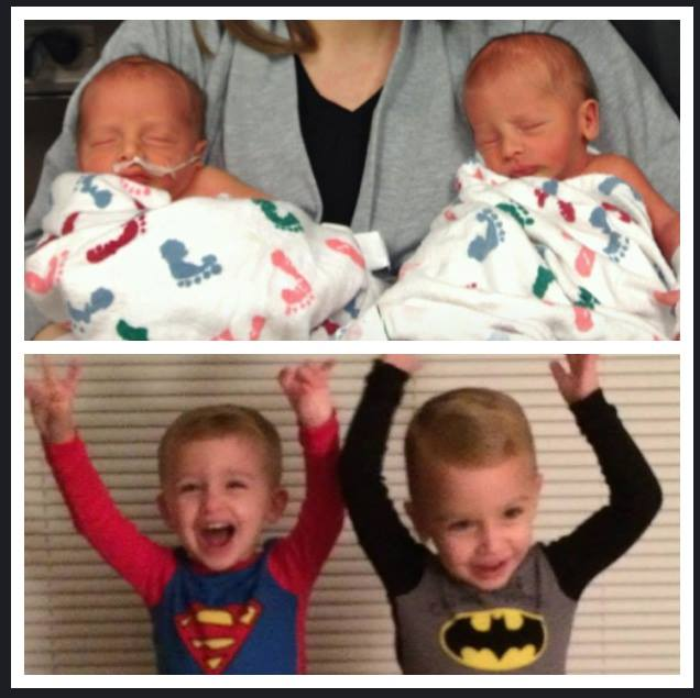 S&C born at 34 weeks-1 day, spent nearly two weeks in the NICU... here they are then (a few days old) and now (nearly 3 years old)...from 4-1/2 pound babes to thriving healthy boys!