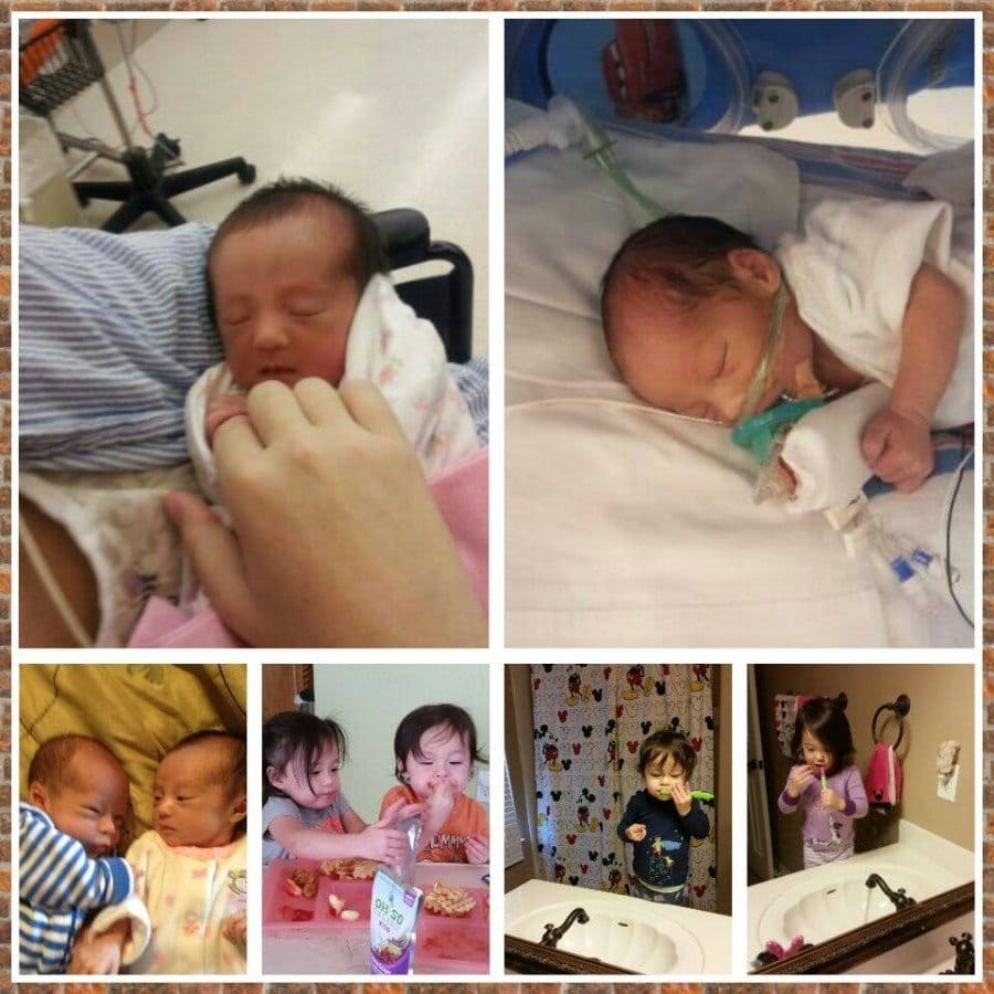 Amelia and Alexander born at 35 weeks due pre-eclampsia. Amelia was 4 lbs 9 oz and spent 3 days in NICU to get her weight up. Alexander was 4 lbs 8 oz was there for 7 days for breathing, eating and to get his weight up. They are almost 2 and are happy, healthy little terrors!