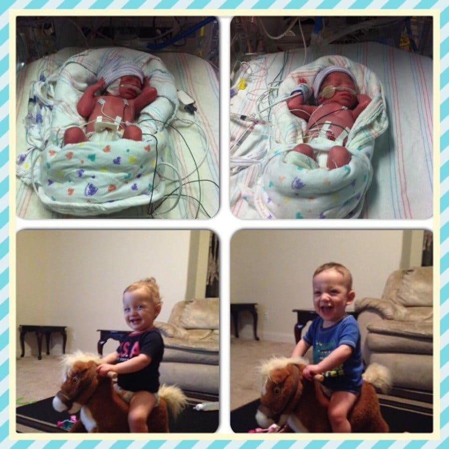 My twins were born at 29 weeks. Baby A was 2.1lbs and baby B was 3lbs. They stayed in the NICU for 7 weeks. Now they are almost 14 months old now.