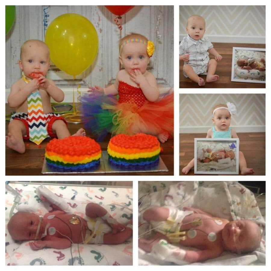 """I have 34 weeker twins, my son (my baby A) PPROMed at 32+4, & I had already been admitted for pre-eclampsia. I was able to keep them baking until 34+1 when I went into labor naturally. They were mostly considered """"feeder growers"""" and I truly believe my breastmilk helped get them out of the NICU way before their due date! Brynley was in for 18 days & Ryder was in for 20 days, being discharged on the day they were 3 weeks old. They are now 15 months old and doing amazing."""