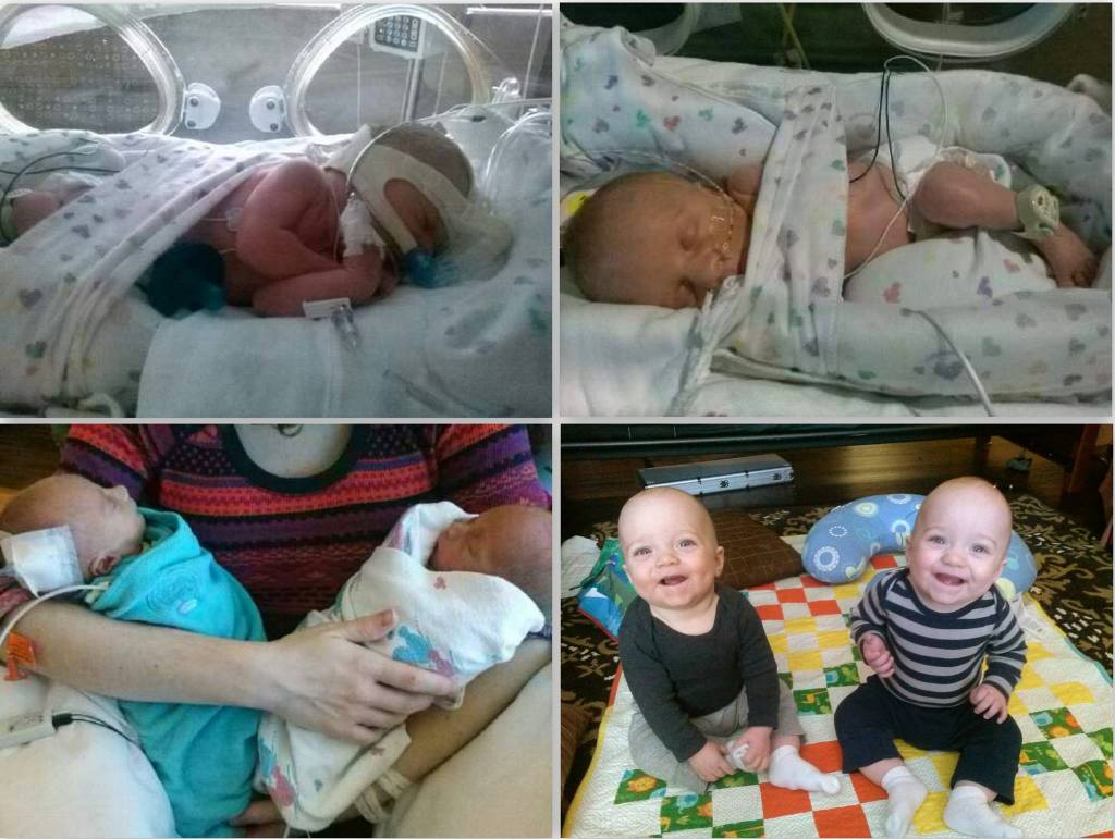 My boys were born at 33w2d. Spent nearly 6 weeks in the NICU. They will be 9 months in a few days.