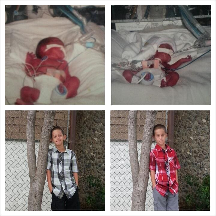 My first set of twins born at 28 weeks. Tanner was 1 lb 13 oz and Toby was 2 lb 7 oz. Spent 13 weeks in the NICU. Also had Twin To Twin Transfusion Syndrome. They are healthy 9 yr old boys who keep us very busy.