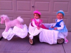 Princesses Cinderella and Aurora with stagecoach