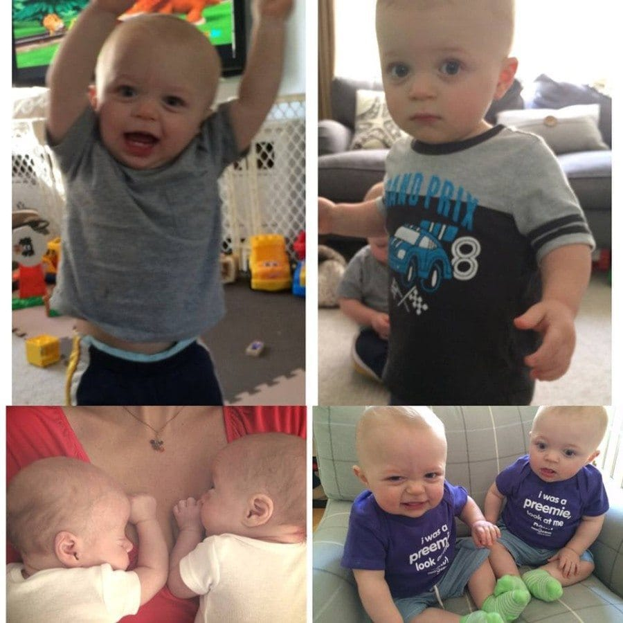 Our 32 weekers Sam and Cole born at 3 lbs 11 and 13 oz and now 16 months and doing great!