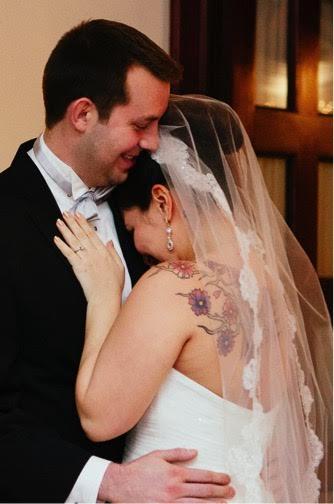 wedding couple hugging marriage