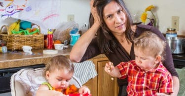 mom and kids in kitchen Top 10 Ways to Be an Unhappy Mother of Twins