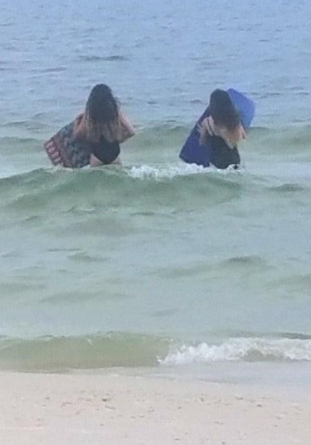 teen girls in ocean Teen Twin Bond