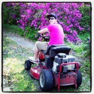 "Lawn mowing - a classic ""big kid"" chore!"