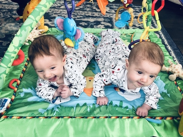 twins doing tummy time need to crawl