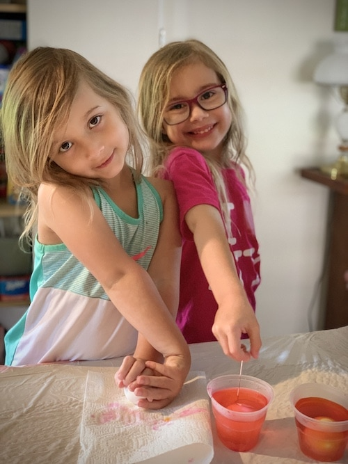 twin girls doing a project during a pandemic
