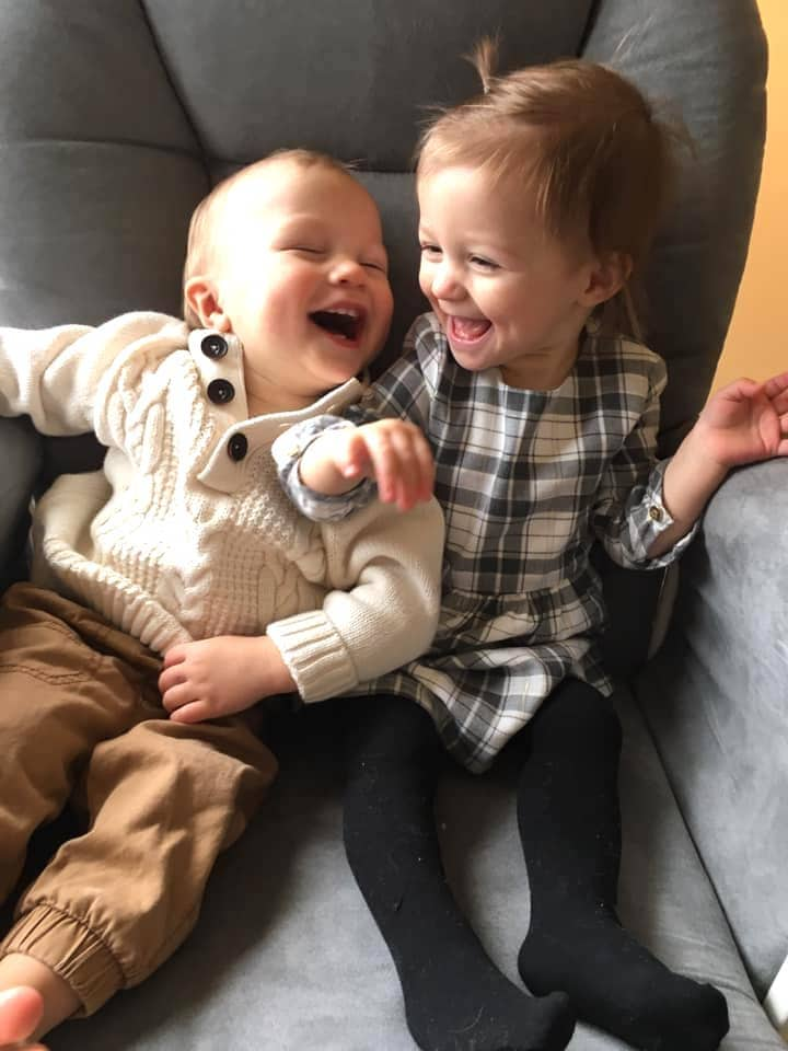 laughing twins stay-at-home parents of twins