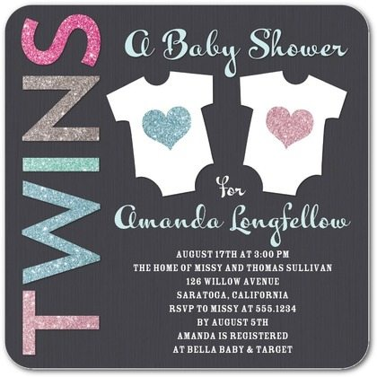 the best twins baby shower invites  twiniversity, Baby shower invitation