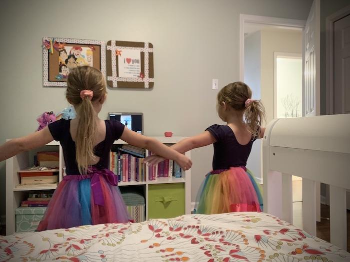 twin girls dance class during a pandemic