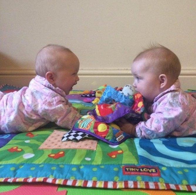 twins on a blanket twin milestones