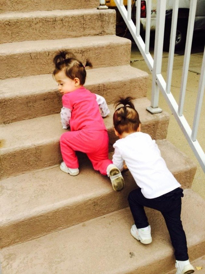 toddler twins climbing stairs always tired