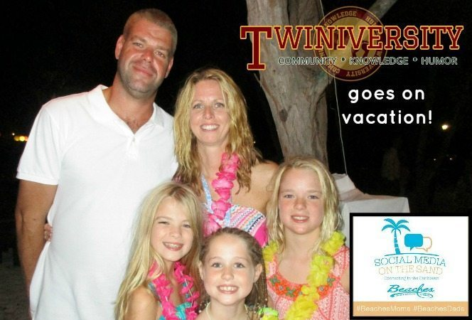 Family with Twins and daughter on vacation