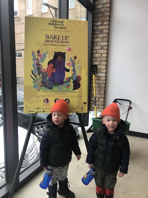 3 year old twin boys seeing wake up brother bear